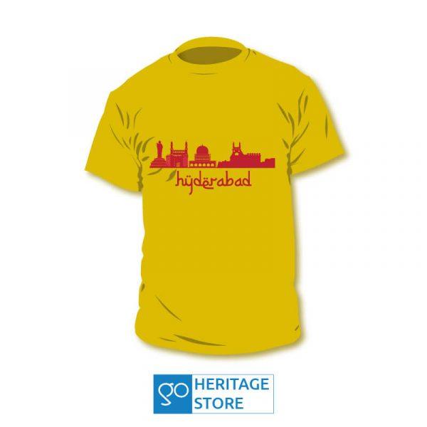 Hyderabad-landmarks-yellow-tshirt